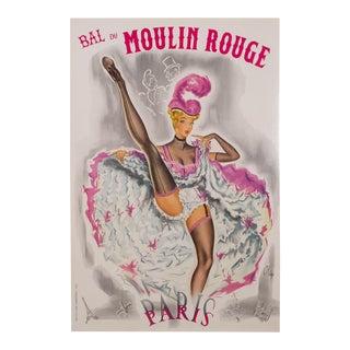 Vintage Bal Du Moulin Rouge Poster C. 1950 For Sale