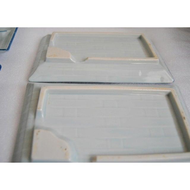 Wood Blue & White Celadon Yakizara Japanese Divided Plates - Set of 4 For Sale - Image 7 of 8
