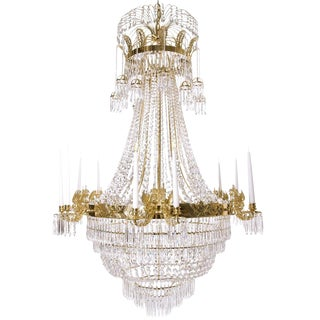Large Light Brass Colour Empire Style Crystal Octagons and 12 Candle Holders Chandelier For Sale
