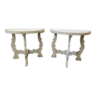 Italian Tuscan Demilune Console Tables - 19th C - a Pair For Sale