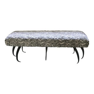 Faux Zebra Upholstered Bench With Horn Legs
