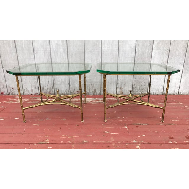 Hollywood Regency Faux Bamboo Side Tables - A Pair - Image 3 of 8