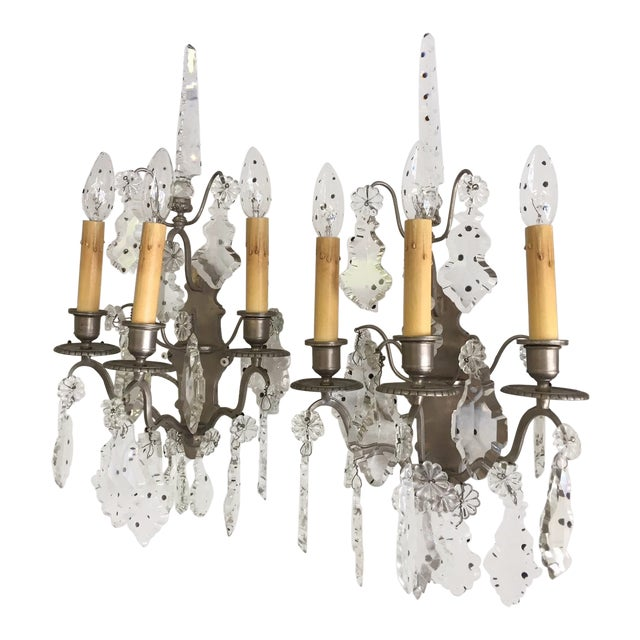 3 Light Nickel and Crystal Silver Sconces - a Pair For Sale