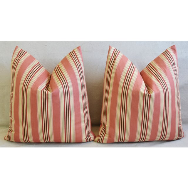 "French Multi Coral Striped Ticking Feather/Down Pillows 23"" Square - Pair For Sale In Los Angeles - Image 6 of 11"