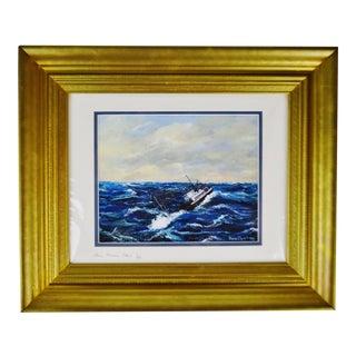 Vintage Framed Nova Scotia Seascape Lithograph - Artist Signed For Sale