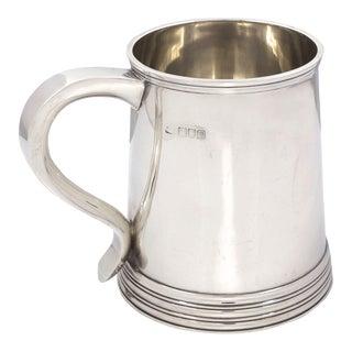 English George III Style Sterling Silver Antique Tankard Mug Circa 1907-8 For Sale