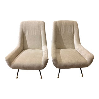 1950's Gigi Radice Style Italian Club Chairs - a Pair For Sale