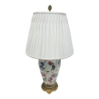 Vintage Chelsea House Floral Lamp with Pleated Shade For Sale
