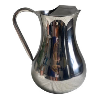 Crate & Barrel Stainless Steel Water Pitcher For Sale