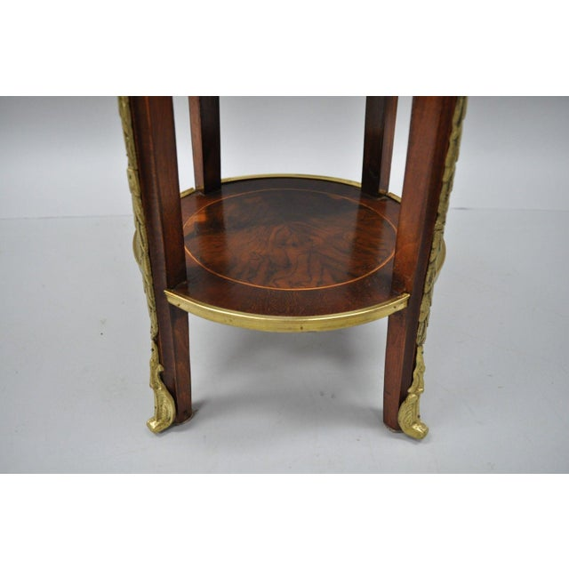 Late 20th Century French Regency Neoclassical Style Bronze Rams Head Round Inlaid Pedestal Table For Sale - Image 5 of 12