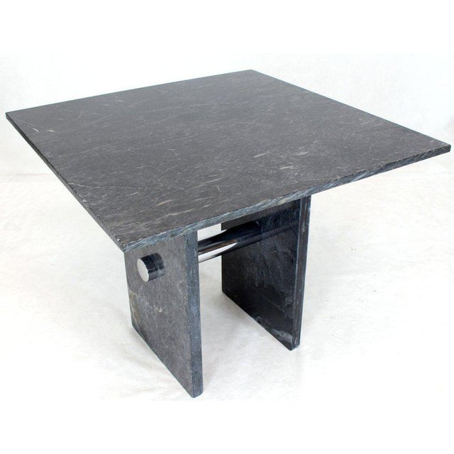 Mid-Century Modern Black Square Marble Top Small Conference Dining Game Cafe Table For Sale - Image 3 of 10