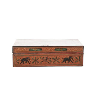 19th Century Hand-Painted Red Burmese Lacquered Box For Sale