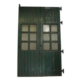 Chicken Wire Glass Panel Wooden Doors - a Pair
