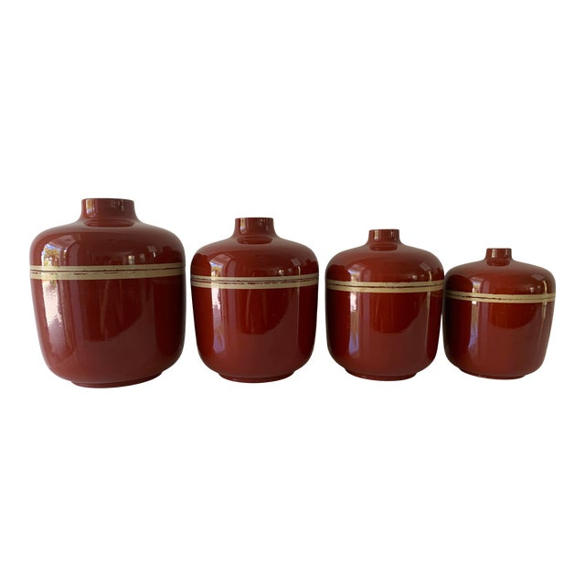 1980s Vintage Brick Red Lacquer Ware Nesting Jars - Set of 4 For Sale