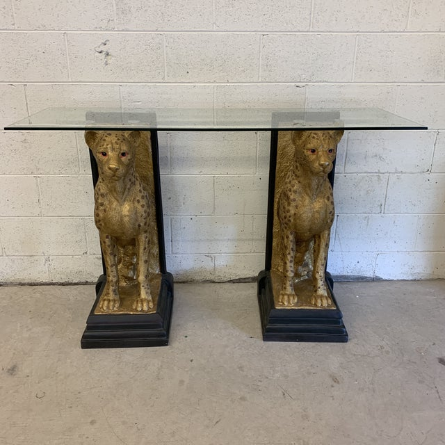 Cheetah Console Table With Glass Top For Sale - Image 12 of 12