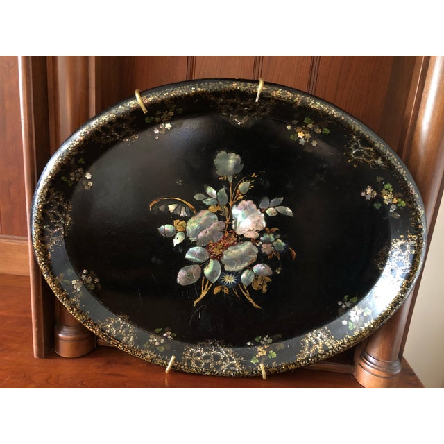 Black Victorian Paper Mache & Inlay Oval Tray For Sale - Image 8 of 8