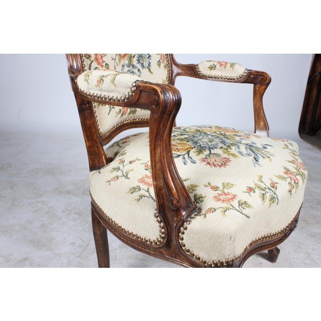 Needlepoint Walnut Fauteuil Chair For Sale - Image 5 of 5