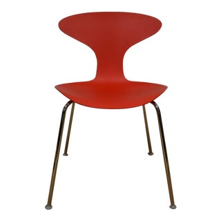 Bernhardt Modern Red Chrome Desk Chair For Sale