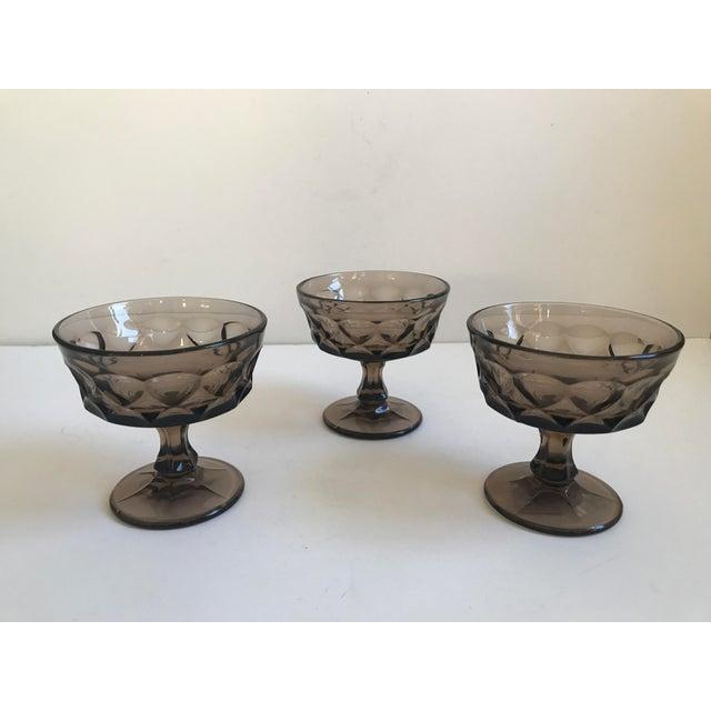 Vintage Smoked Thumbprint Glass Goblets - Set of 6 - Image 8 of 9