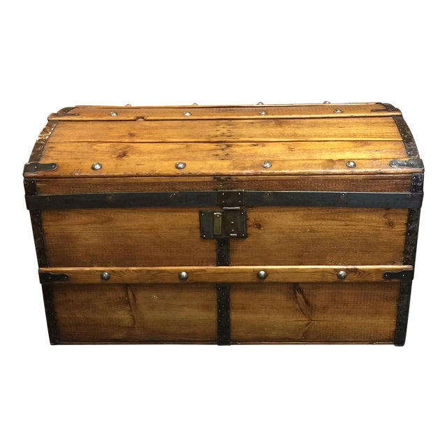 Antique Camelback Wooden Trunk - Image 1 of 6