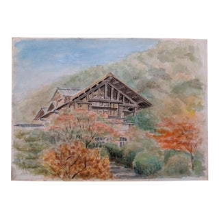 Japanese Architectural Original Watercolor Painting (4 of 4) For Sale