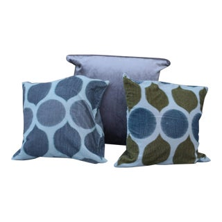 Gray Silk Velvet Pillows - Set of 3