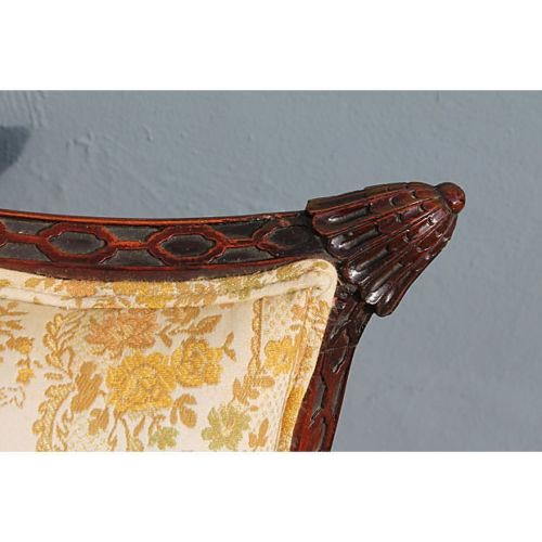 Traditional Carved Asian Chinoiserie Sofa - Image 7 of 11