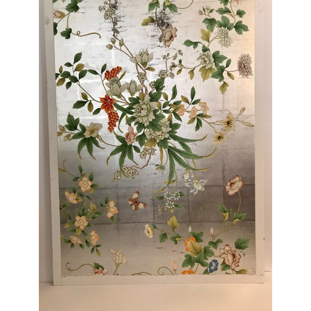 Chinoiserie Old Handpainted Wallpaper Panel Mounted on Foam Core For Sale In Los Angeles - Image 6 of 7