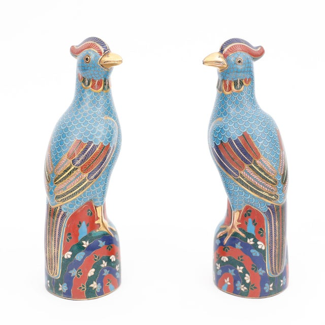 Blue Vintage Chinese Blue and Red Cloisonné Birds - a Pair For Sale - Image 8 of 8
