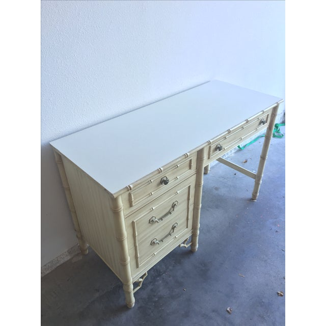 White Vintage Thomasville Allegro Faux Bamboo Desk For Sale - Image 8 of 11