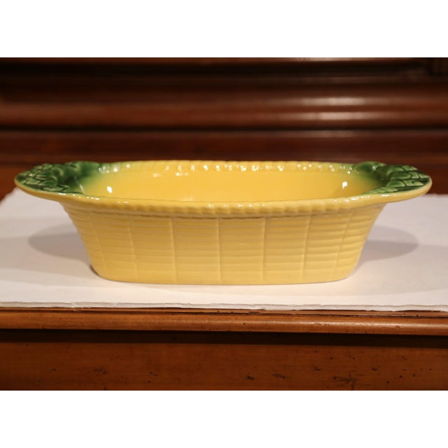 Display your fruit or other perishables in this colorful antique Majolica dish. Created in Provence, France crafted, circa...