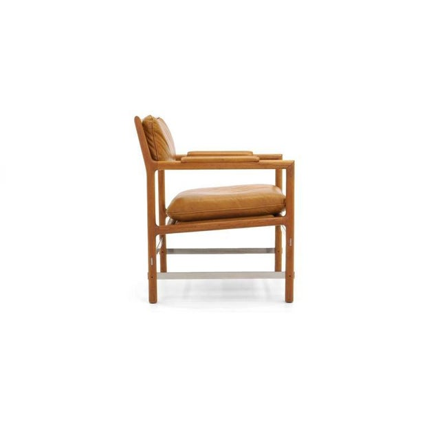 Mid-Century Modern Leather, Mahogany and Steel Armchair by Edward Wormley for Dunbar For Sale - Image 3 of 10