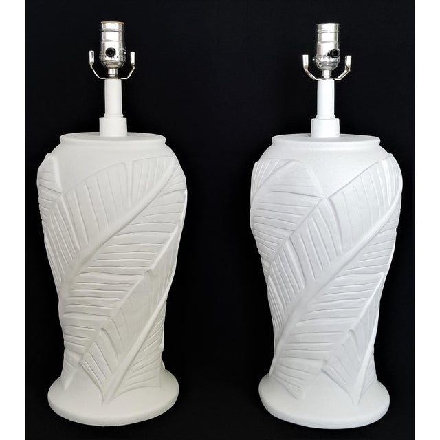 Boho Chic White Plaster Palm Banana Leaf Lamps in the Style of Serge Roche - a Pair For Sale - Image 3 of 13