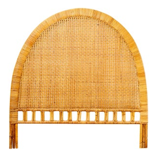 Vintage Mid-Century Arched Cane Rattan Full Size Headboard For Sale
