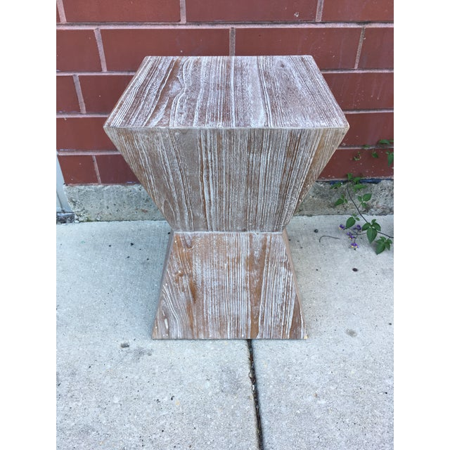 """Gorgeous cerused oak concave prismatic plant stand or side table. In excellent condition. 13.75"""" x 13.75"""" and 19.75"""" tall."""