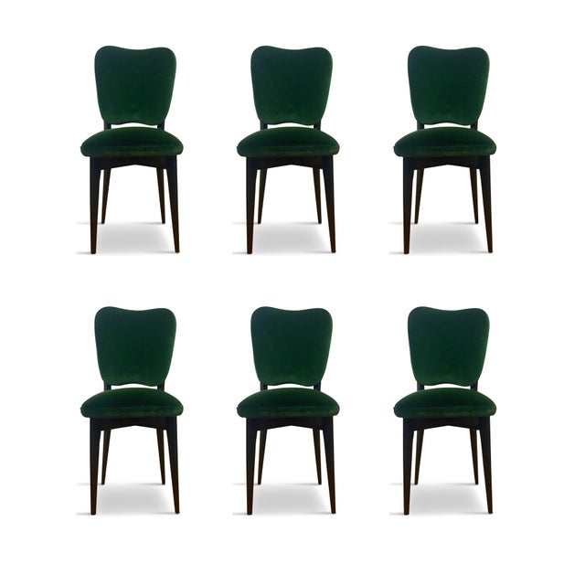 1960s 1960s Mid-Century Modern Green Upholstered Dining Chairs - Set of 6 For Sale - Image 5 of 8