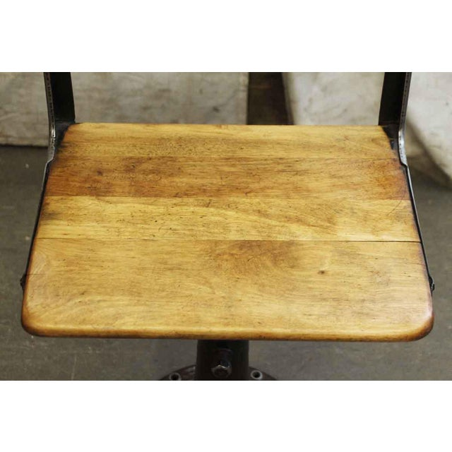 Mid 20th Century Heywood Wakefield Stool With Iron Base For Sale - Image 5 of 10