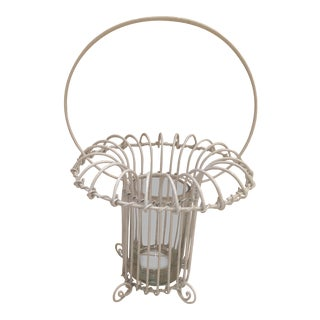 1980s Vintage Shabby Chic White Wire Summer Flower Basket Surrounding a Clear Glass Vase For Sale