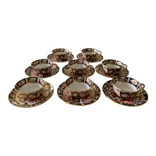 Royal Crown Derby Imari Tea Cups & Saucers - Set of 8 For Sale