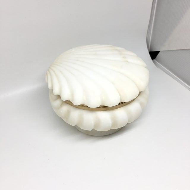 Alabaster and Brass Shell Lidded Box For Sale - Image 12 of 12