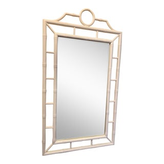 White Chippendale Bamboo Mirror For Sale