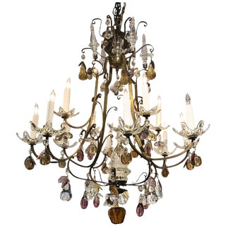 Italian Bronze and Fruit Crystal Eight-Light Chandelier For Sale