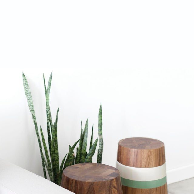 LABRICA Capirucho Side Table & Stool Lacquered Bands For Sale - Image 4 of 7