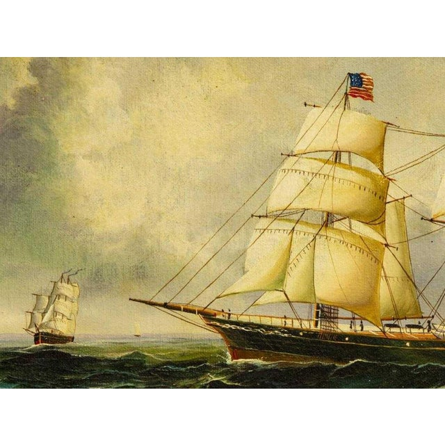 """American Classical """"Clipper Ships"""" Framed Oil on Canvas Painting For Sale - Image 3 of 5"""