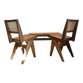 Pierre Jeanneret Style Bench & 2 Chairs- 3 Pieces For Sale
