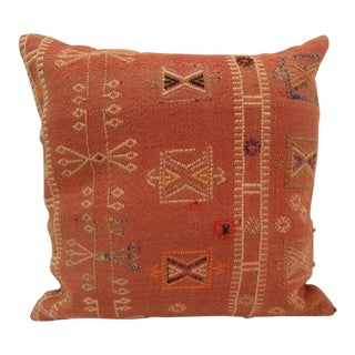 Handmade Vintage Turkish Kilim Pillow Cover For Sale
