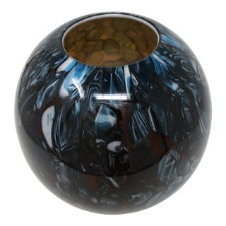 Vintage Murano Style Hand Blown Abstract Art Glass Spherical Vase For Sale
