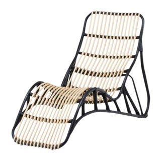 Boho Chic Rattan Chaise Lounge For Sale