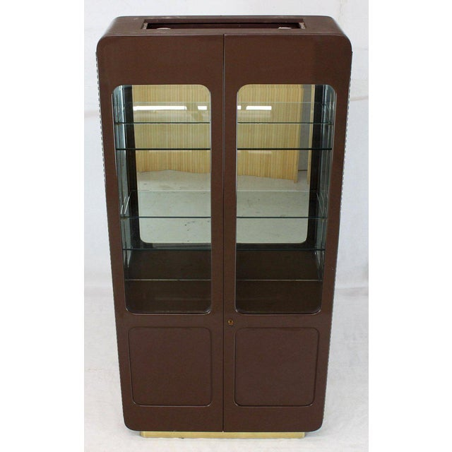 Tall High Gloss Lacquer Finish Rounded Beveled Glass Display Cabinet Wall Unit For Sale - Image 12 of 12