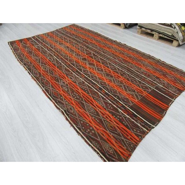 Vintage Orange Striped Turkish Kilim Rug - 6′7″ × 11′6″ For Sale - Image 5 of 6
